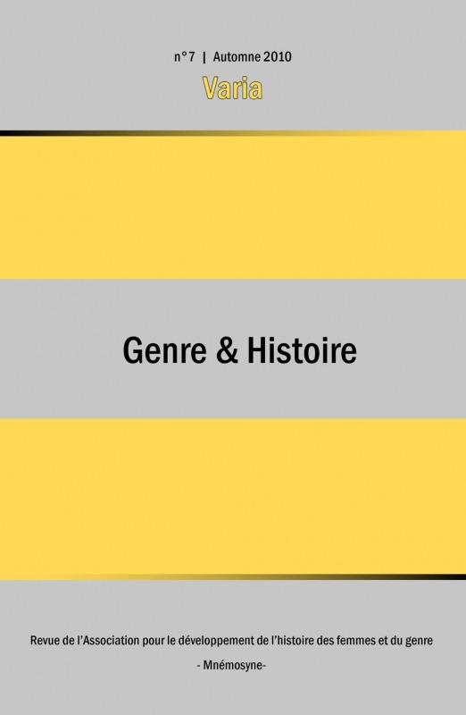 Association Mnémosyne 7 | 2011 - Varia - Genre & Histoire