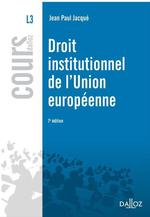 Droit institutionnel de l'Union europ�enne