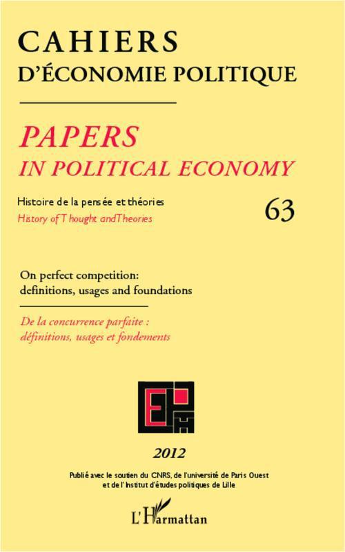 Cahiers D'Economie Politique Histoire de la pensée et théories