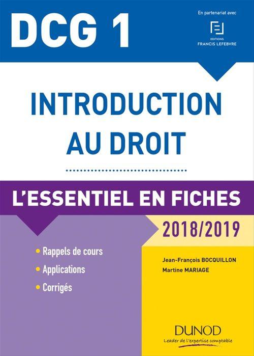 Jean-François Bocquillon DCG 1 - Introduction au droit - 2018/2019 - 9e éd.