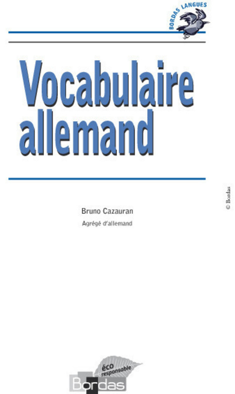 Bordas Langues - Vocabulaire allemand