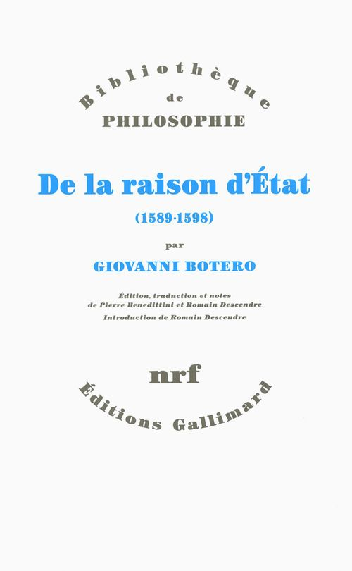 Giovanni Botero De la raison d'État