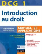 DCG 1 ; introduction au droit ; manuel et applications (�dition 2013/2014)