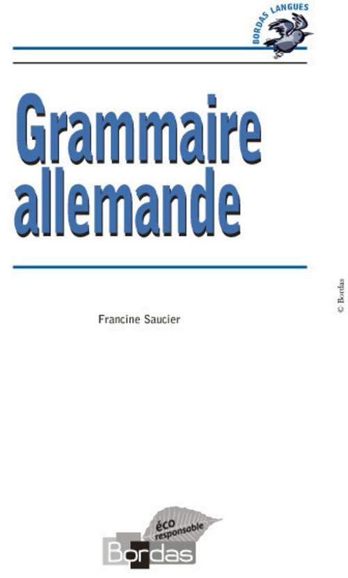 Francine Saucier Bordas Langues - Grammaire allemande