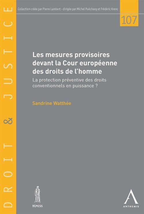 Sandrine Watthée Les mesures provisoires devant la Cour européenne des droits de l'homme