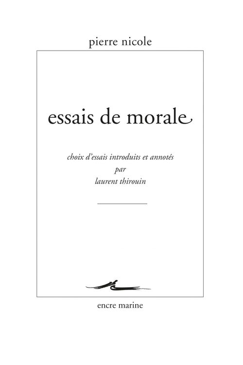 Pierre Nicole Essais de morale