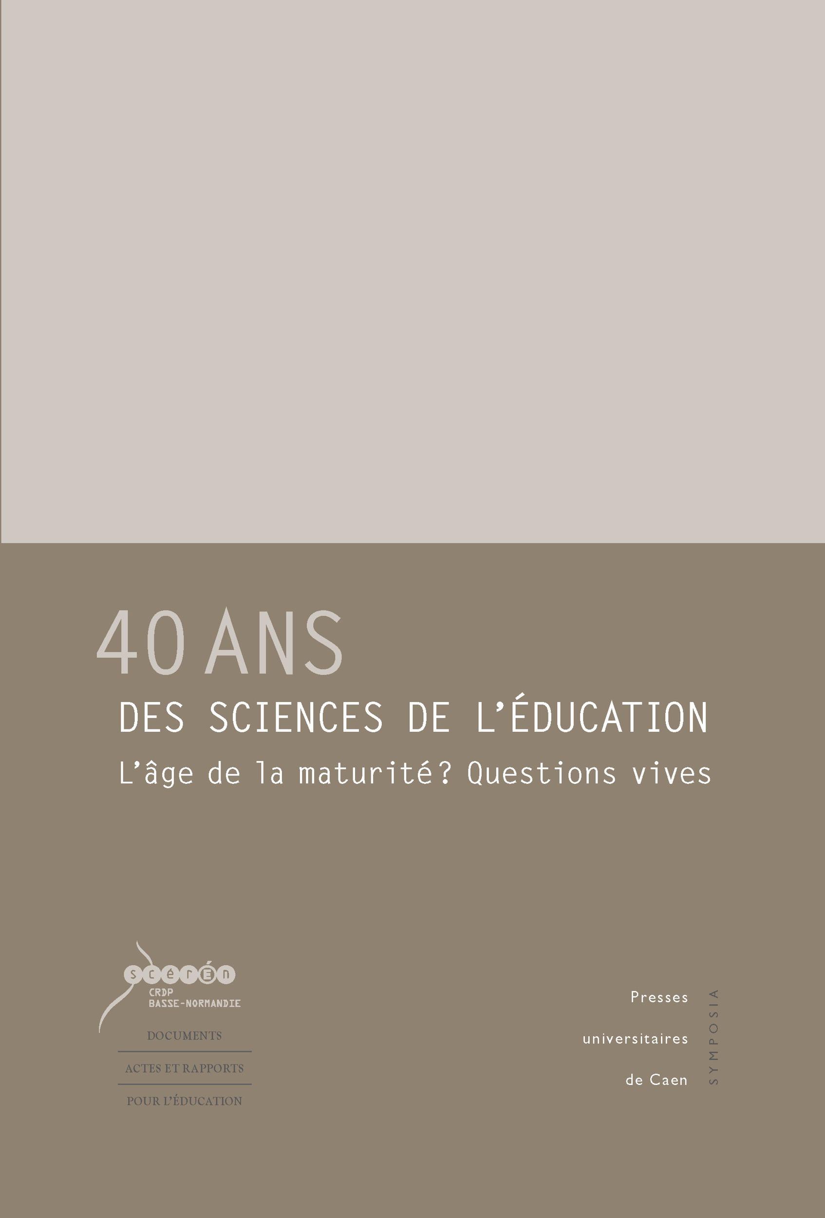 Alain Vergnioux 40 ans des sciences de l´éducation