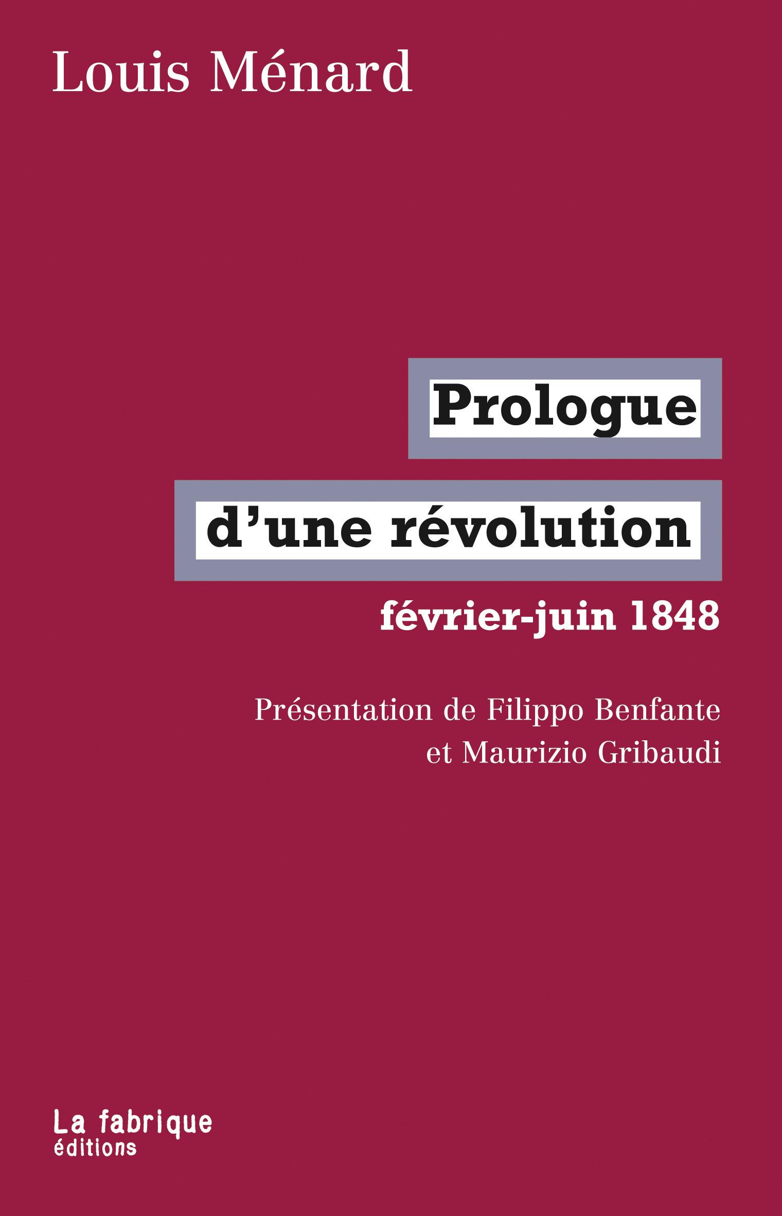 Louis Ménard Prologue d'une révolution