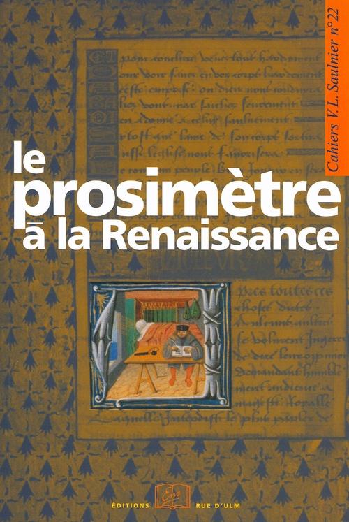 Catherine Magnien Le prosimètre à la Renaissance