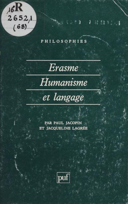 Érasme : humanisme et langage