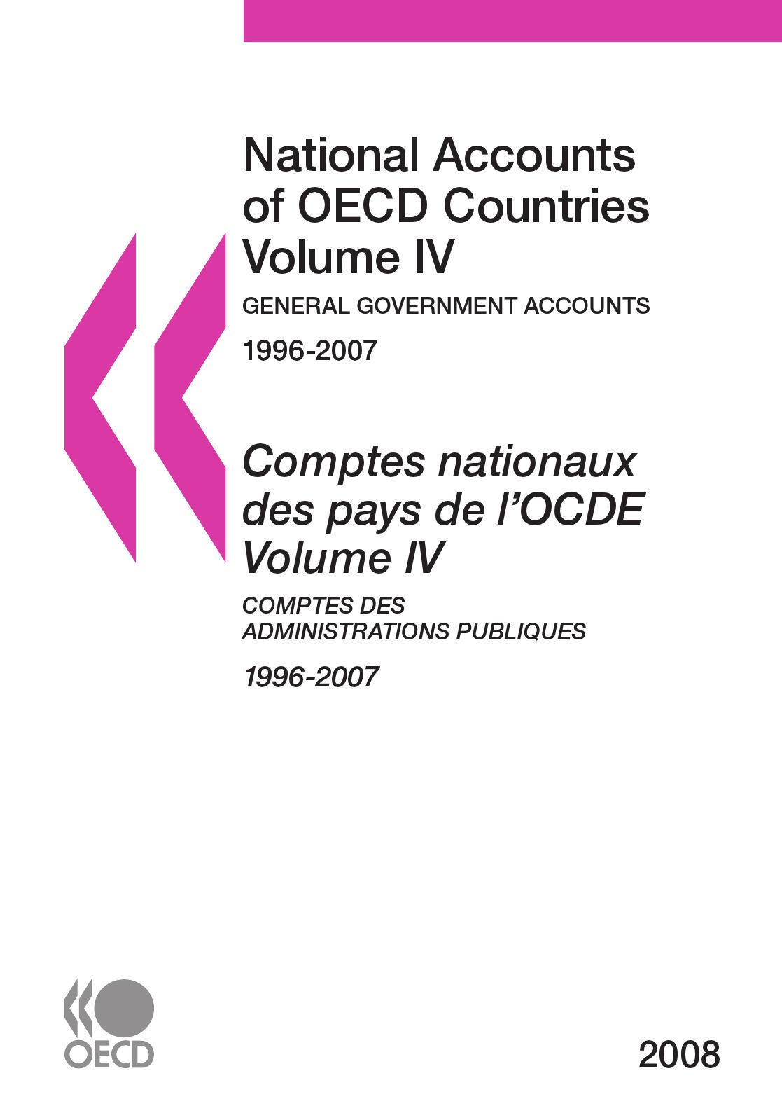 Collective Comptes nationaux des pays de l'OCDE 2008, Volume IV, Comptes des administrations publiques