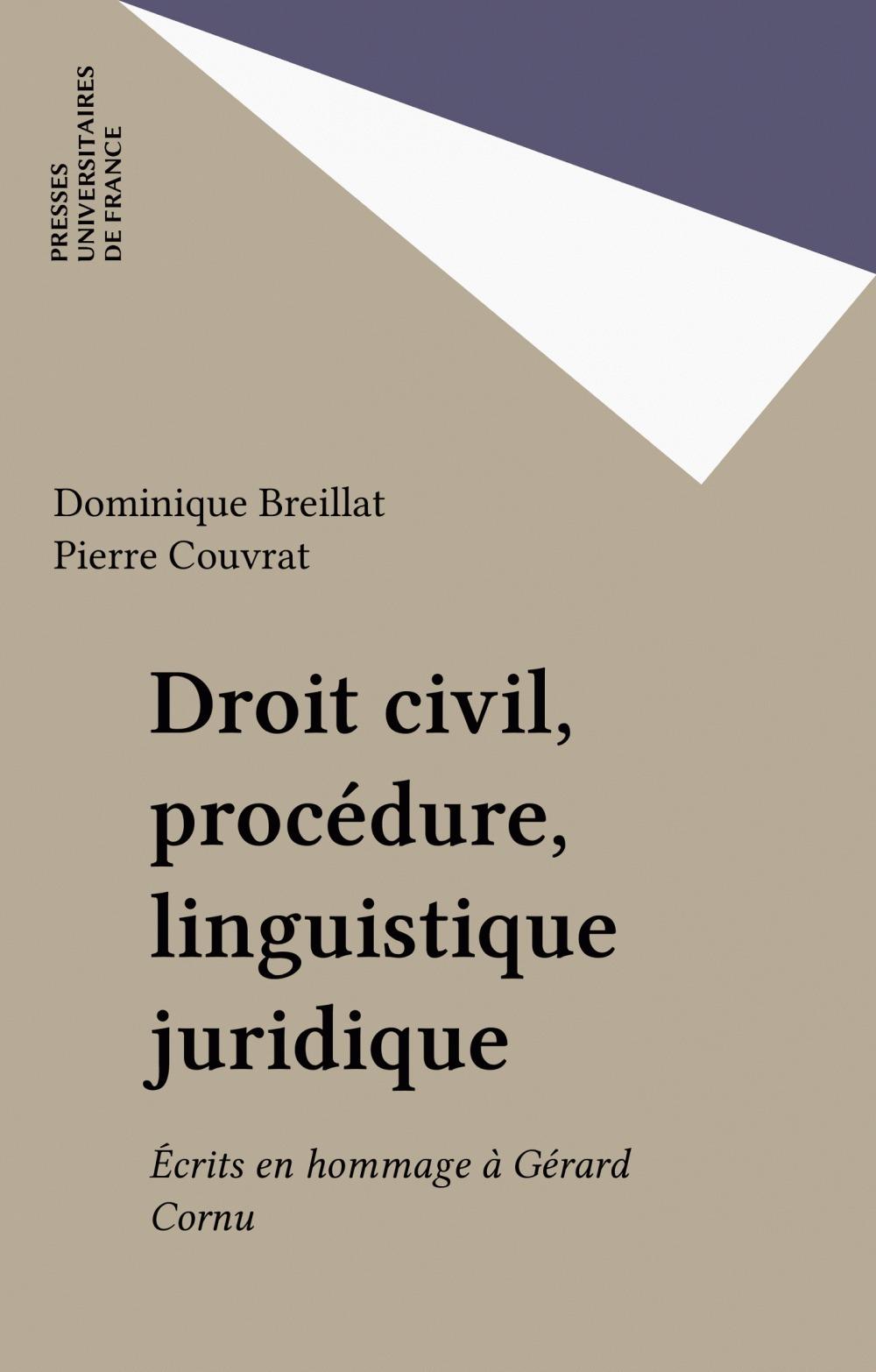 Droit civil, procédure, linguistique juridique