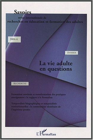 Revue Savoirs La vie adulte en questions