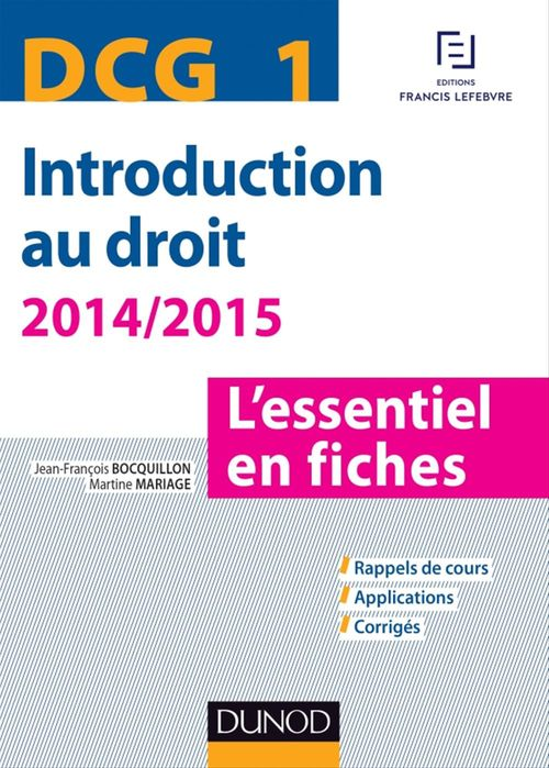 Jean-François Bocquillon DCG 1 - Introduction au droit - 2014/2015 - 6e éd