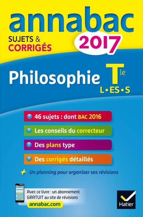 Didier Guimbail Annales Annabac 2017 Philosophie Tle L, ES, S