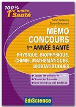Mémo Concours 1re année Santé Physique/Chimie/Maths