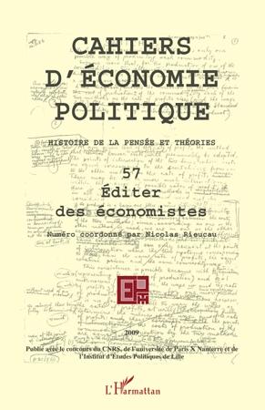 Cahiers D'Economie Politique Éditer des économistes