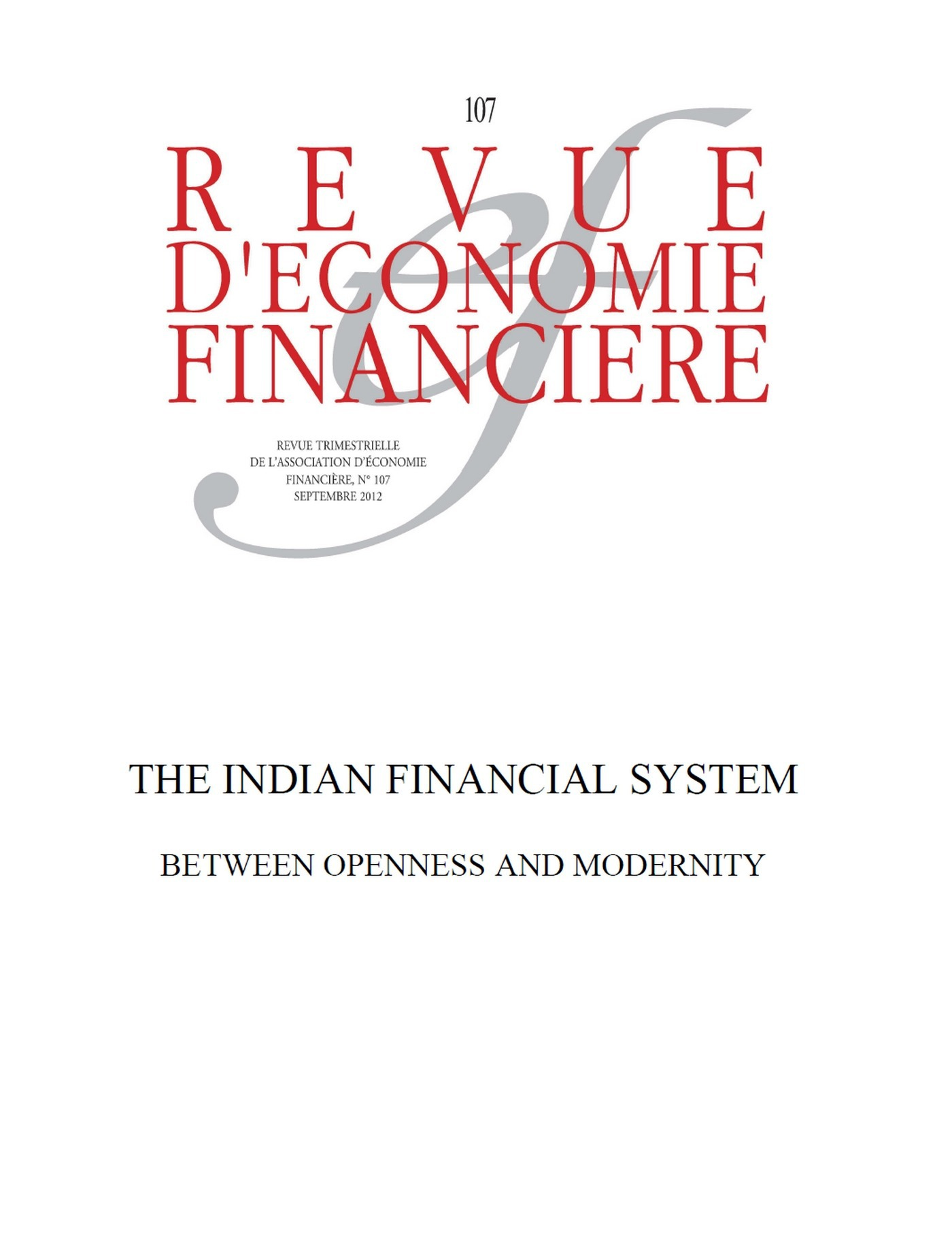Club Du Cepii Jean-Joseph Boillot The Indian Financial System