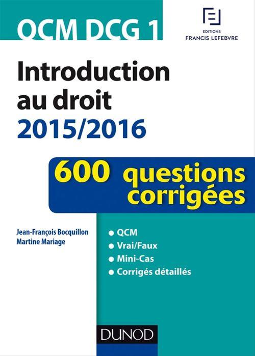 Jean-François Bocquillon QCM DCG 1 - Introduction au droit 2015/2016 - 3e éd.