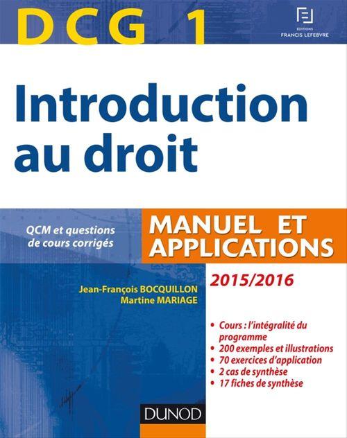 Jean-François Bocquillon DCG 1 - Introduction au droit 2015/2016 - 9e édition