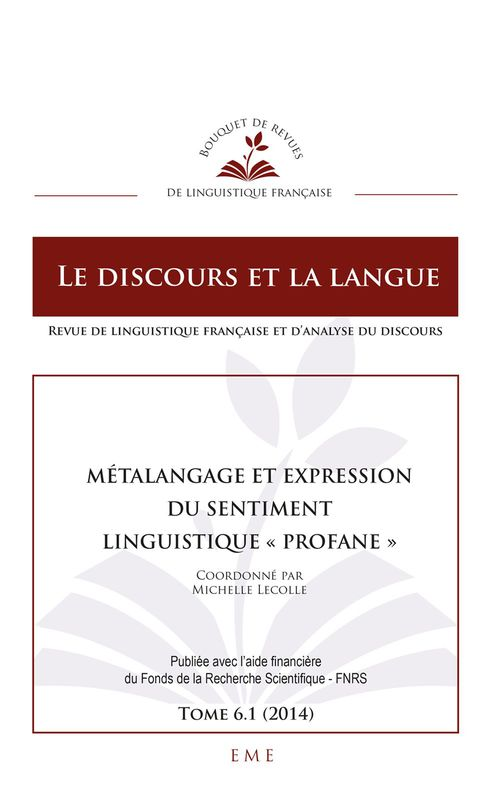 "Michelle Lecolle Métalangage et expression du sentiment linguistique ""profane"""