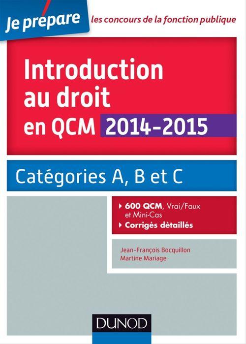 Jean-François Bocquillon Introduction au droit en QCM 2014-2015