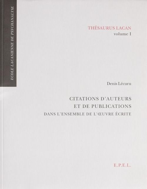 Thesaurus Lacan, volume 1