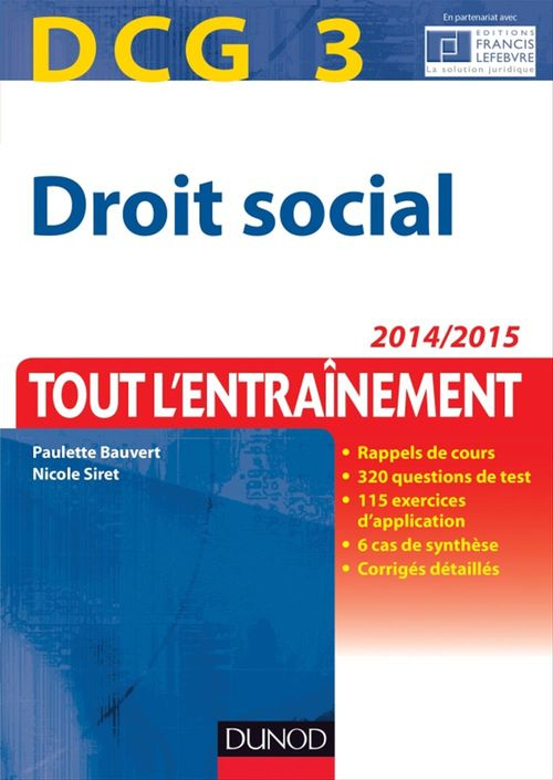 Droit social ; DCG 3 ; tout l'entraînement ; 2014/2015