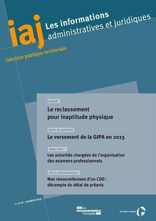 IAJ : Le reclassement pour inaptitude physique - Octobre 2013