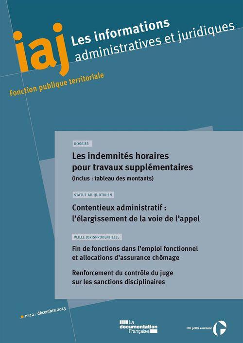 IAJ : Les indemnités horaires pour travaux supplémentaires - Décembre 2013