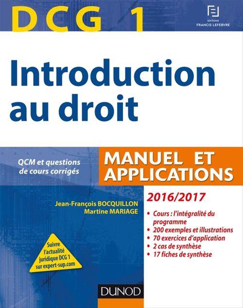 Jean-François Bocquillon DCG 1 - Introduction au droit 2016/2017 - 10e éd. - Manuel et Applications, QCM