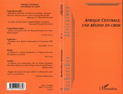 Revue Recherches Africaines Afrique centrale, une région en crise