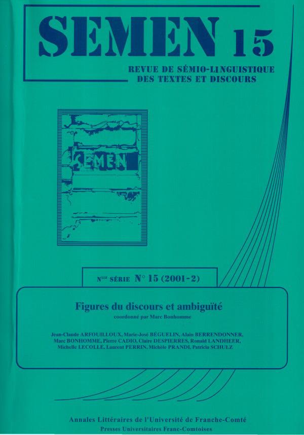 Presses Universitaires De Franche-Comté Figures du discours et ambiguïté