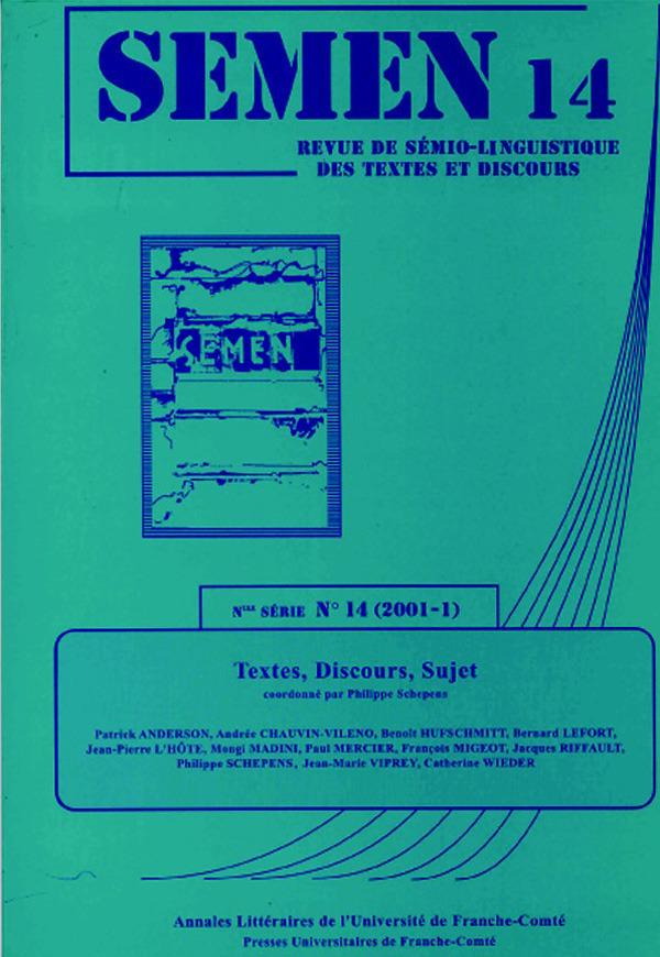 Presses Universitaires De Franche-Comté Textes, discours, sujet