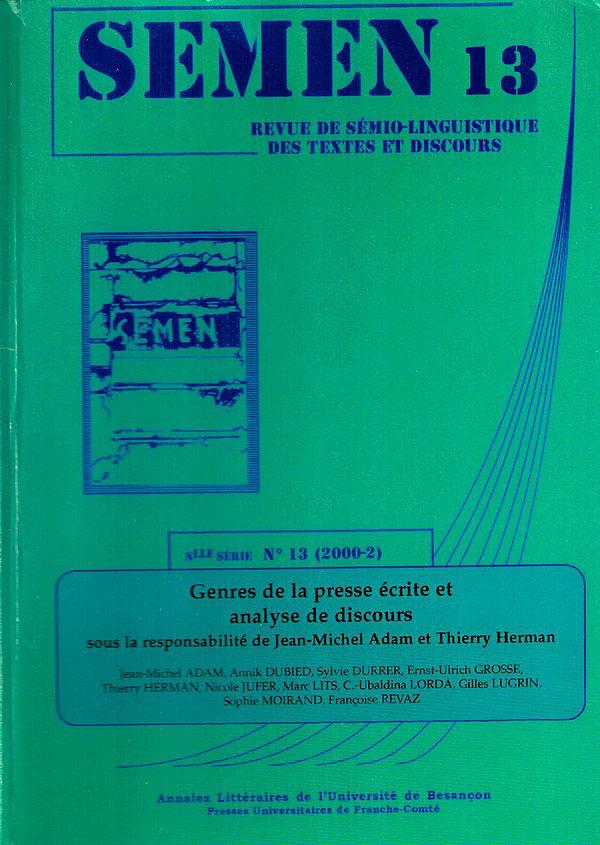 Presses Universitaires De Franche-Comté Genres de la presse écrite et analyse de discours