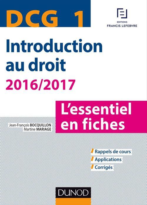Jean-François Bocquillon DCG 1 - Introduction au droit - 2016/2017 - 7e éd.