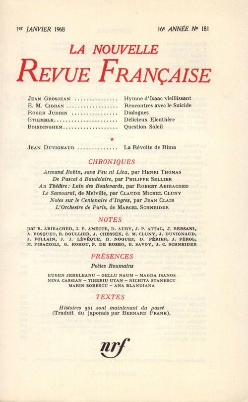 Collectifs La Nouvelle Revue Française N' 181 (Janvier 1968)