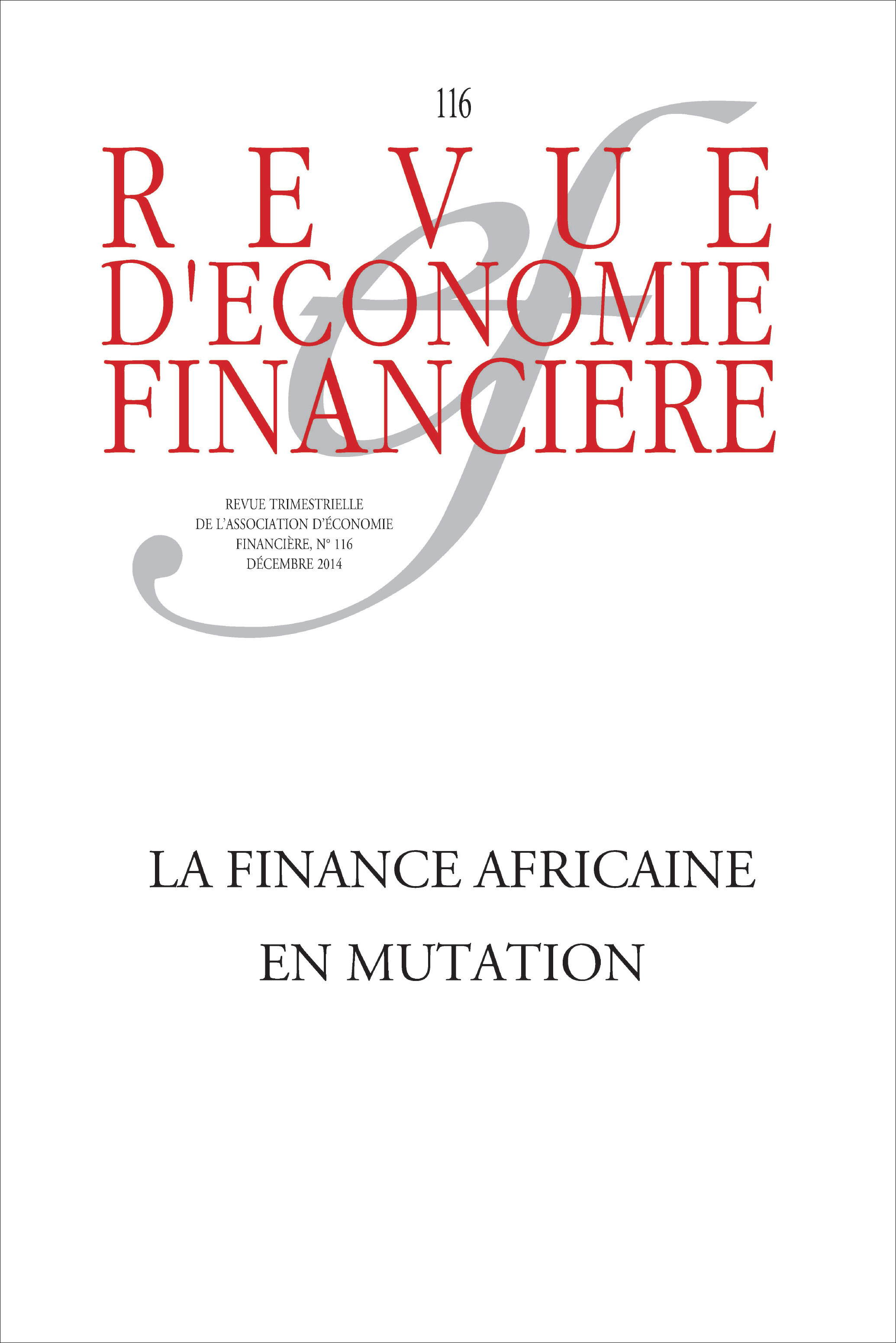 Revue D'Economie Financiere La finance africaine en mutation
