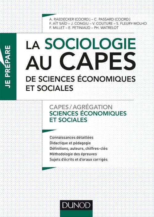 Collectif La sociologie au Capes de Sciences économiques et sociales