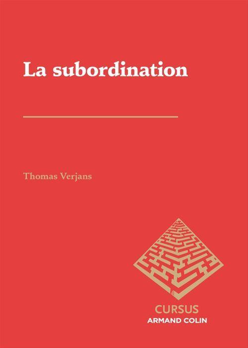 Thomas Verjans La subordination