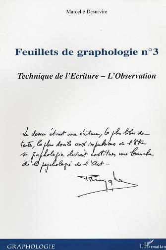 Marcelle Desurvire Feuillets N.3 De Graphologie ; Techniques De L'Ecriture ; L'Observation