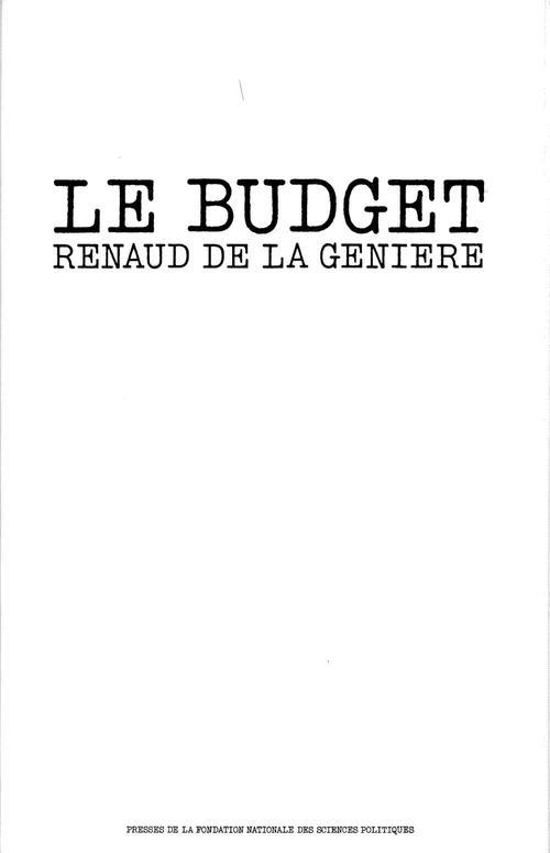 La Genière Renaud de Le budget