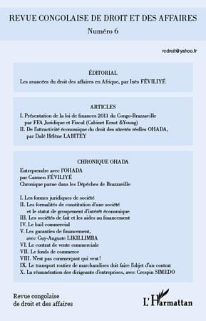 Collectif Revue congolaise de droit et des affaires t.6
