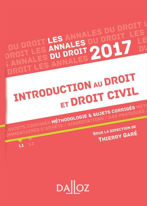 Annales Introduction au droit et droit civil 2017