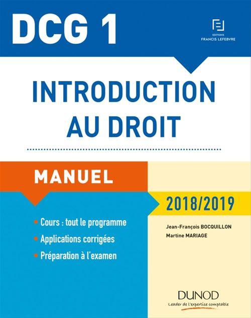 Jean-François Bocquillon DCG 1 - Introduction au droit - 12e éd.