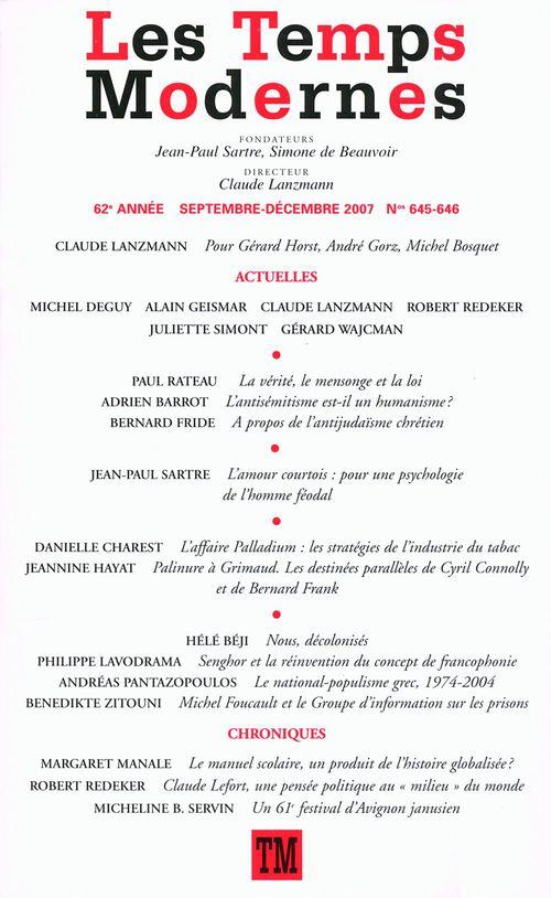 Collectifs Les Temps Modernes n° 645-646 (Septembre - décembre 2007)