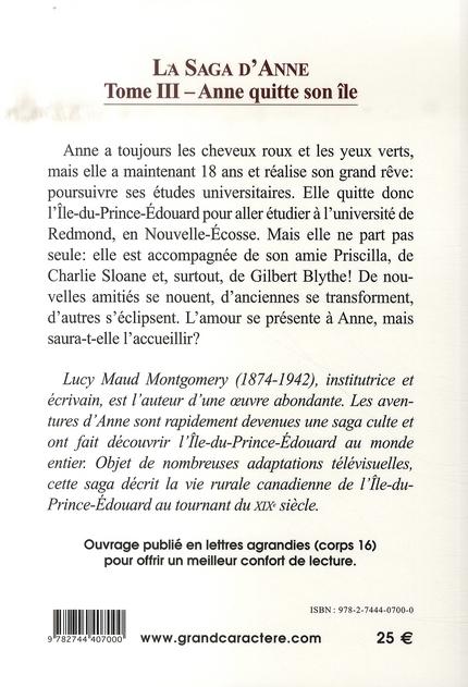 La saga d'anne t.3 ; anne quitte son île