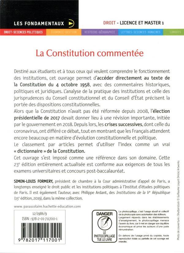 La Constitution commentée ; article par article (édition 2020/2021)