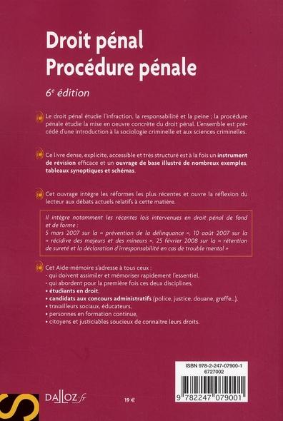 aide-mémoire ; droit pénal, procédure pénale (6e édition)