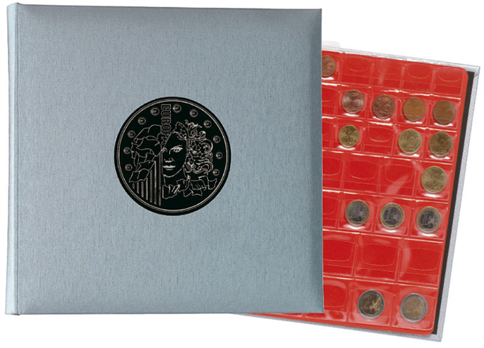 Classeur numismatique + 5 feuilles plastique - 24,5x25 cm